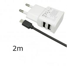 Kućni punjač 2u1 2USB + kabl mikro 2m